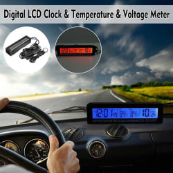 In/Out Digital LCD Auto Car Temperature Thermometer &Clock Volt Black