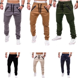 Men Elasticated Waist Cargo Autumn Work Trousers Slim Fit Casua Black XL