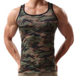 Men Green Army Camo Camouflage Muscle Gym Bodybuilding T-shirt  L