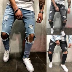 Men''s Skinny Stretch Ripped Jeans Slim Fit Flex Denim Trousers Light blue L