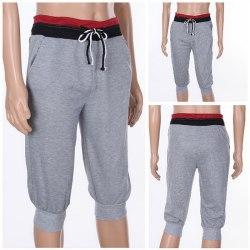 Mens lösa 3/4 knä joggershorts Casual Gym byxor Harem Pan Gray M