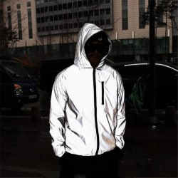 Mens Waterproof Reflective Running Jacket Night Overcoat Outwea Gray L