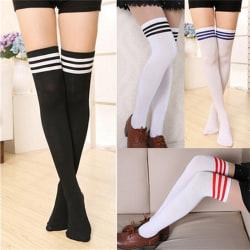 Over The Knee Thigh High Cotton Socks Stockings Leggings Women L Black White One Size