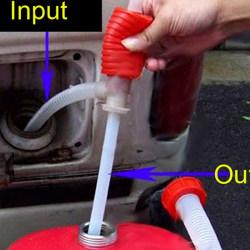 Portable Manual Car Siphon Hose Oil Gas Water Liquid Transfer Ha red 56cm