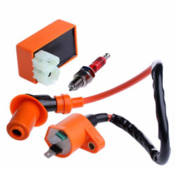 Racing Ignition Coil CDI + Ignition Coil + Spark Plug For GY6 50 One Size