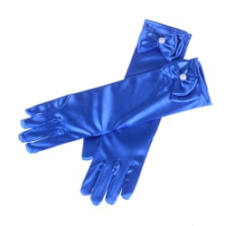 Satin Bow Pearl Long Gloves Elbow Length Princess Costume Dress  Sky Blue 0