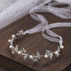 Silver Bride Pearl Headband Tiaras Headpiece Party Wedding Hair Silver