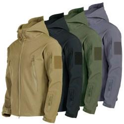 Waterproof Winter Mens Outdoor Jacket Tactical Coat Soft Shell M Black L