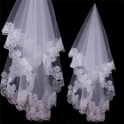 White Ivory Cathedral Length Lace Edge Bride Wedding Bridal Lon