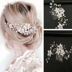 Women bridal white flower rhinestone pearl hair comb wedding ha One Size
