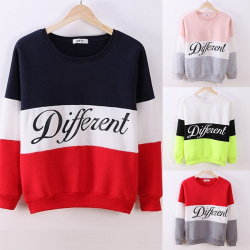 Women Casual Loose Hooded Thick T-Shirt Long Sleeve Pullover Co Pink+Grey One Size