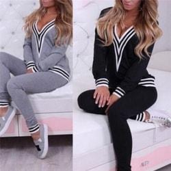 Women Casual Sweatshirt Tops+Pants Fashion Tracksuit Set 2 Pcs O Black XL