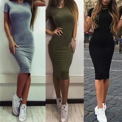 Women Cotton Knee-Length Skinny Office Dress Short Sleeve Bodyco Black S
