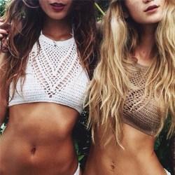 Women Crochet Lace Handmade Knit Bra Beach Bikini Halter Cami Ta White