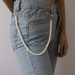 Women Cute Pear Pant Chain Belt Female Jeans Pearl Chain Pants