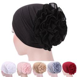 Kvinnor Blommor Stretchy Turban Head Wrap Band Chemo Bandana Hijab Black