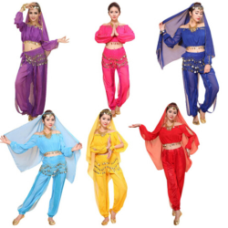 Women's Belly Dance Costumes Set Indian Dancing Dress Clothes To Purple Free Size