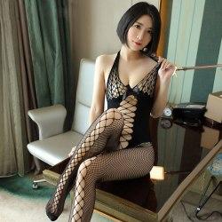 Kvinnor Sexig Fishnet Bodystocking Teddy Underkläder Babydoll Bodysui