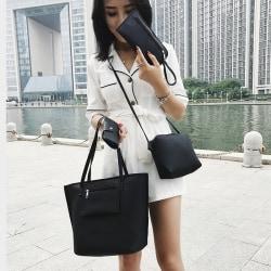 4 i 1 kit med väskor - Axelväska, handväska, necessär och plånbok