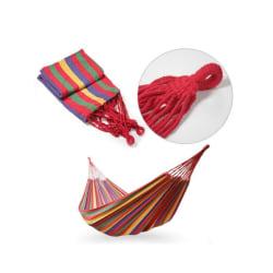 Hängmatta - Röd / Gul randig - 200 x 150 cm