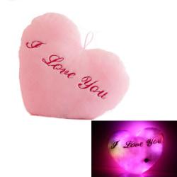 Hjärtkudde som lyser Rosa