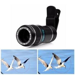 Teleobjektiv 12X optisk zoom med klämma för mobiltelefoner