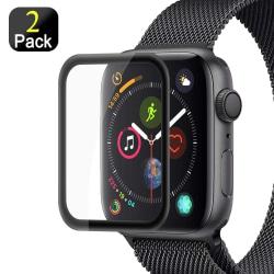 2-pack Härdat Glas Apple Watch 44 mm - Svart Black Svart