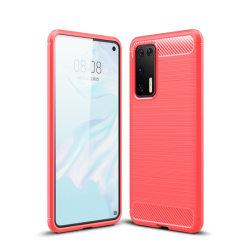 Huawei P40 - Brushed Textur Skal - Röd