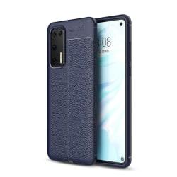 Huawei P40 - Litchi Textur Skal - Mörk Blå