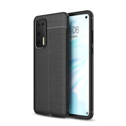 Huawei P40 - Litchi Textur Skal - Svart