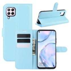 Huawei P40 Lite - Litchi Plånboksfodral - Ljus Blå