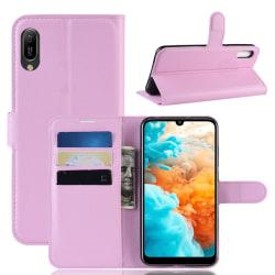 Huawei Y6 (2019) - Litchi Plånboksfodral - Ljus Rosa