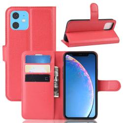 iPhone 11 - Litchi Plånboksfodral - Röd