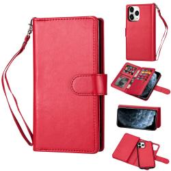iPhone 12 / 12 Pro - 9-korts 2in1 Magnet/Fodral - Röd