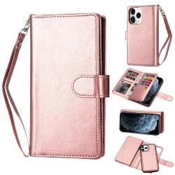 iPhone 12 / 12 Pro - 9-korts 2in1 Magnet/Fodral - Roséguld