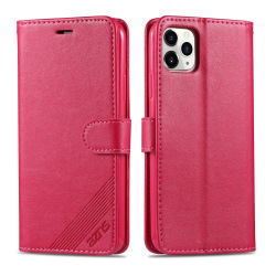 iPhone 12 / 12 Pro - AZNS Läder Fodral - Röd