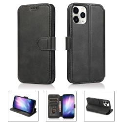 iPhone 12 / 12 Pro - Retro Plånboksfodral - Svart