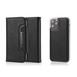 iPhone 12 Mini - 2in1 Litchi Fodral/Magnet Skal - Svart Black Svart