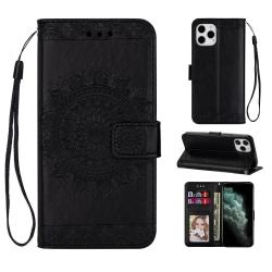 iPhone 12 Mini - Mandala Läder Fodral - Svart Black Svart