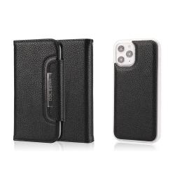 iPhone 12 Pro Max - 2in1 Litchi Fodral/Magnet Skal - Svart