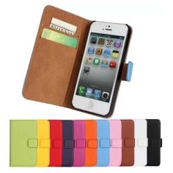 iPhone 5/5S/SE - Plånboksfodral I Äkta Läder - Välj Färg! Black Svart