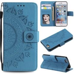 iPhone 6/6S Plus - Mandala Läder Fodral - Blå Blue Blå