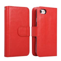 iPhone 7/8 Plus Plånboksfodral / Magnetskal 9 kort - Röd