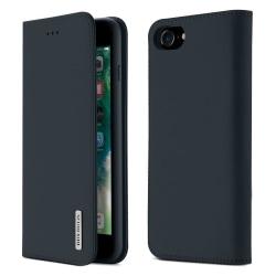 iPhone 7/8/SE(2020) - DUX DUCIS Äkta Läder Plånboksfodral - Mörk DarkBlue Mörk Blå