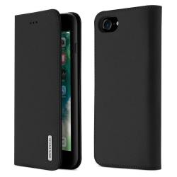 iPhone 7/8/SE(2020) - DUX DUCIS Äkta Läder Plånboksfodral - Svar Black Svart