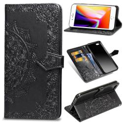 iPhone 7/8/SE (2020) - Mandala Läder Fodral - Svart Black Svart
