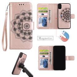 iPhone X/Xs - Plånboksfodral / Magnet Skal 2 in 1 - Roséguld