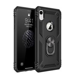iPhone XR - Hybrid Armor Ring Skal - Svart Black Svart