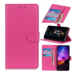 Motorola One Hyper - Litchi Plånboksfodral - Rosa