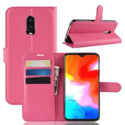 OnePlus 6T - Litchi Plånboksfodral - Rosa